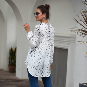 Women's Fashion Tops Blouse Casual V-Neck Star Print Long Sleeve Irregular