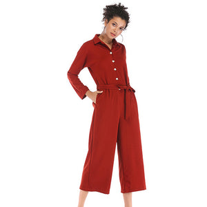 Women's Single-breasted Slim Jumpsuit Solid Color Lapel Wide Leg Pants
