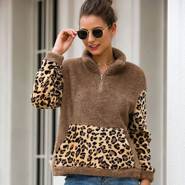 Women Leopard Stitching Long Sleeve Tops Zipper High Collar Wild Polar Fleece