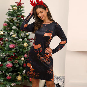 Women Christmas Elk Print Above-Knee Dress Long Sleeve Round Neck Cute