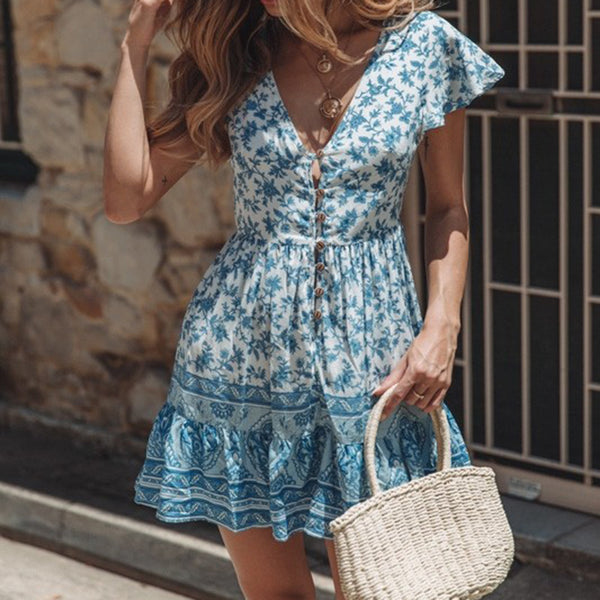 Women V-neck Short Sleeve Lace-up Holiday Floral Print Dress Casual Skirt