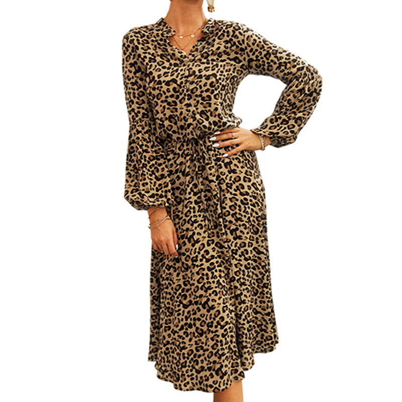 Women Leopard Print Below-Knee Dress Summer V-Neck Long Sleeve Sexy Lace-Up - PRESALE