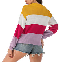 Load image into Gallery viewer, Women's Casual Striped Long Sleeve Sweater Round Neck Pullover Knitwear
