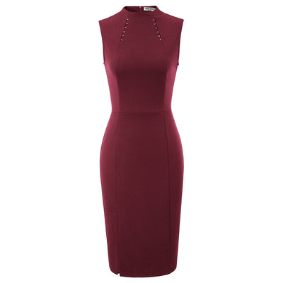 Grace Karin Women's Solid Color Sleeveless Right Split Hips-Wrapped Bodycon Pencil Dress