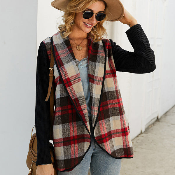 Women's Plaid Printed Lapel Splicing Long Sleeve Coat Casual Loose Cardigan