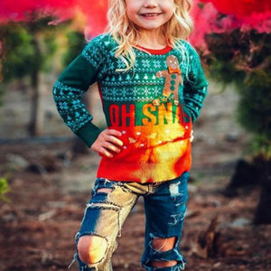 Parent-Child Straight Type Printed Round Collar Christmas Sweater