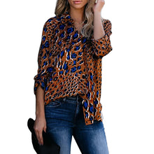 Load image into Gallery viewer, Women's Loose Long Sleeve Leopard Print Lapel Cardigan Shirt