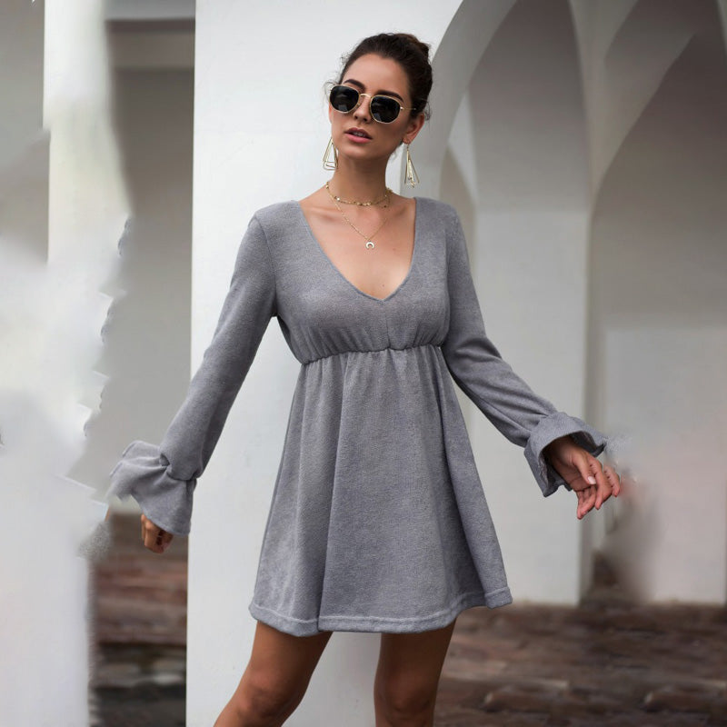 Women Mini Dress New Long Sleeve V-Neck Ruffled Waist Tightening Solid Color