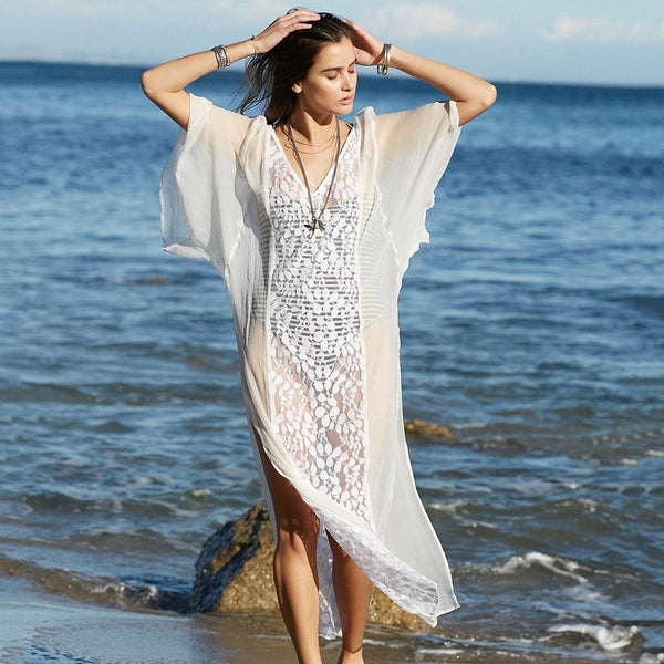 Women Summer Boho Chiffon Lace Splice Floral Hollow V-Neck White Dress - PRESALE