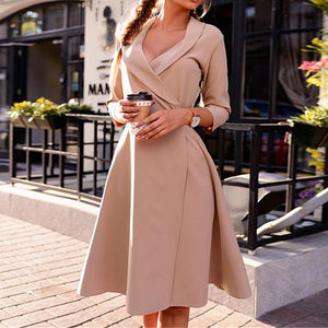 New Lapel Solid Color Sexy Lace Up Cropped Sleeve Dress
