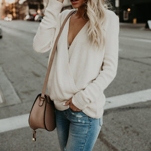 Solid Color Knit Top With Long Sleeves And V-neck