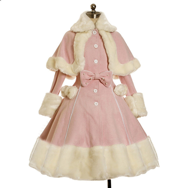 Lolita gótico feminino quente Faux Fur Wool Dress Natal Princesa Cape Cosplay