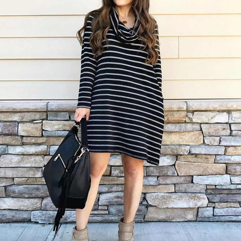Solid Color Striped Round Neck Long Sleeve Dress