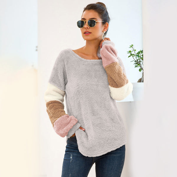Women Tops Pullover Round Neck Long Sleeve Four-Color Splice Warm Fashion
