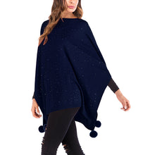 Load image into Gallery viewer, Women's Batwing Sleeve Loose Shawl Cloak Cape Knitted Irregular Tops Plus Size