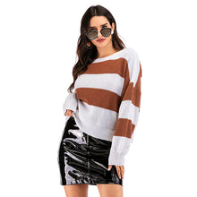 Load image into Gallery viewer, Women's Winter Casual Round Neck Sweater Knitwear Tops Loose Striped Pullover
