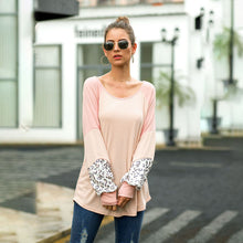 Load image into Gallery viewer, Women Tops Blouse Long Puff Sleeve Round Neck Leopard Splice Fashion Loose