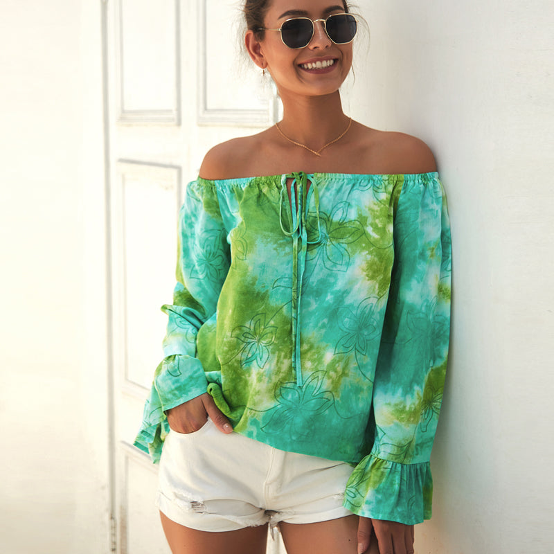 Women's Summer Floral Tops - Casual Boat Neck, Off-Shoulder and Long Sleeve