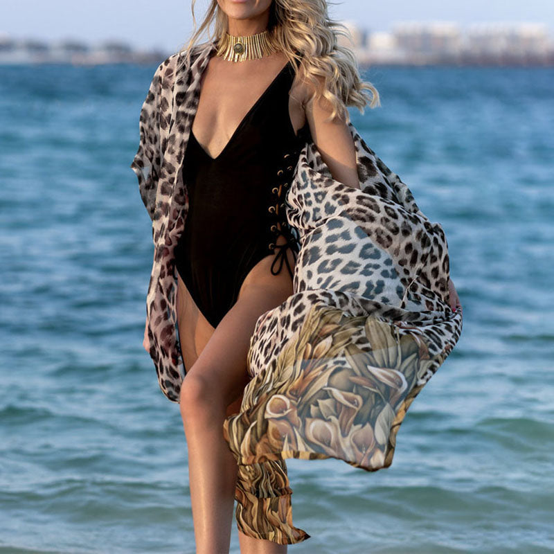 Leopard Batwing Sleeve Beach Cover Up