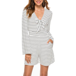 Women's Casual Sexy Striped V-Neck Mini Jumpsuit  Slim Long Bell Sleeve Bowknot
