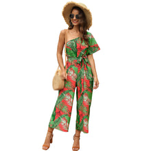 Load image into Gallery viewer, Women's Print One Shoulder Casual Jumpsuit Vacation High Waist Strap One-piece