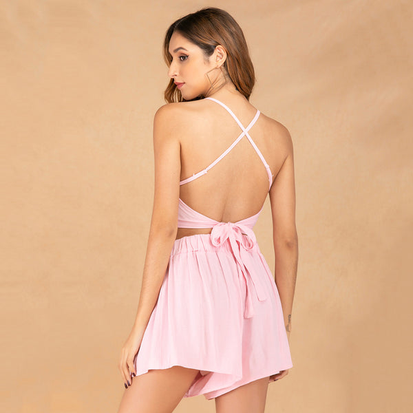 Women Tops+Shorts Summer Sling Backless Cross Lace-Up Solid Color Sexy Fashion