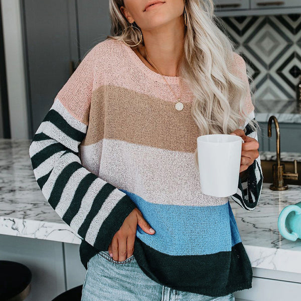 Women Stripe Long Sleeve Sweater Knitwear Autumn Winter Warm Loose Casual