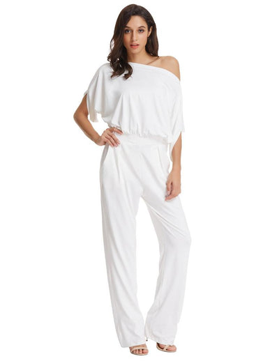 Grace Karin Sexy Women's Short Sleeve Straight Neck Jumpsuit Jumper Romper_White