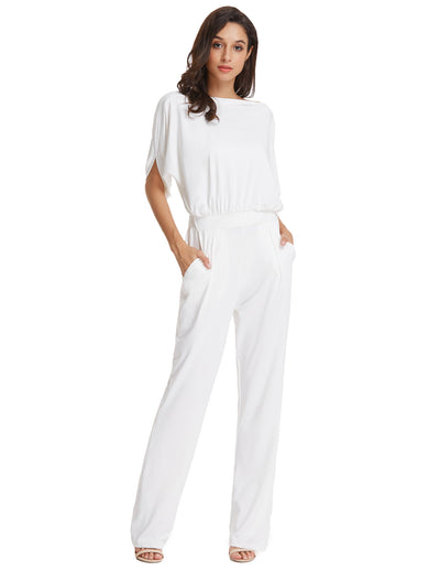 race Karin Sexy Women's Short Sleeve Straight Neck Jumpsuit Jumper Romper_White