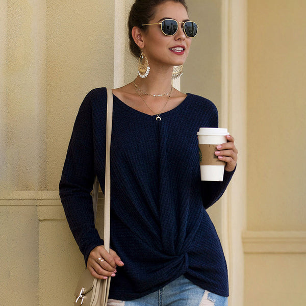 Women Long Sleeve V-neck Tops Solid Color Hem Knot Loose Fashion Casual