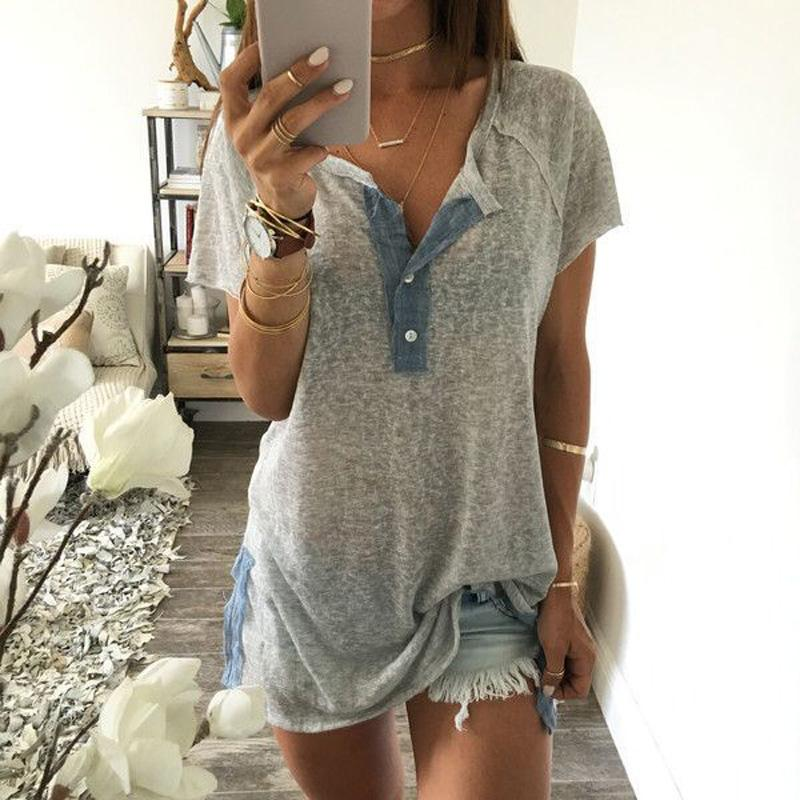 Loose Solid Color Hem Split Short-sleeved T-shirt