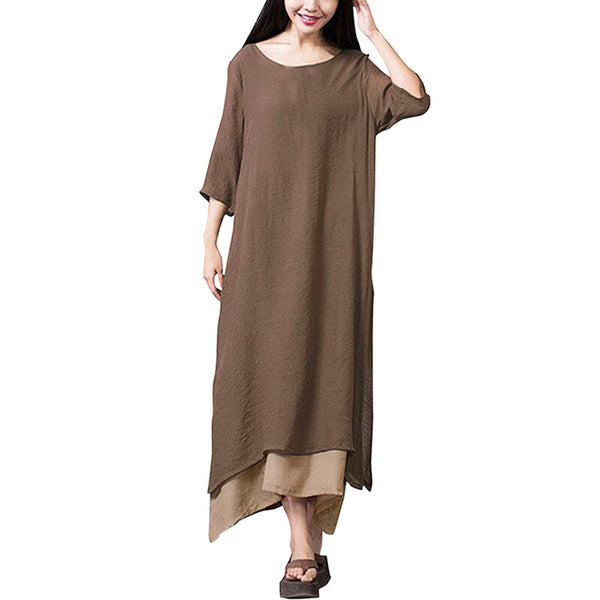 2018 Women's Casual loose Long Sleeve Cotton Linen Long Maxi Dress Beach dress