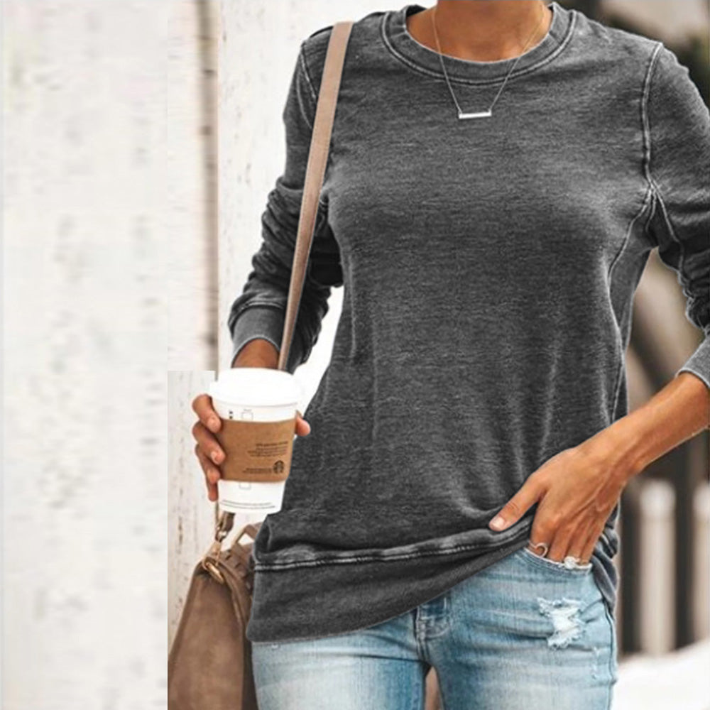 Women Casual Simple Round Neck Tops Long Sleeve T-shirt Plus Size Solid Color