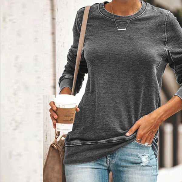 Mujer Casual Simple Cuello redondo Tops Camiseta de manga larga Tallas grandes Color sólido