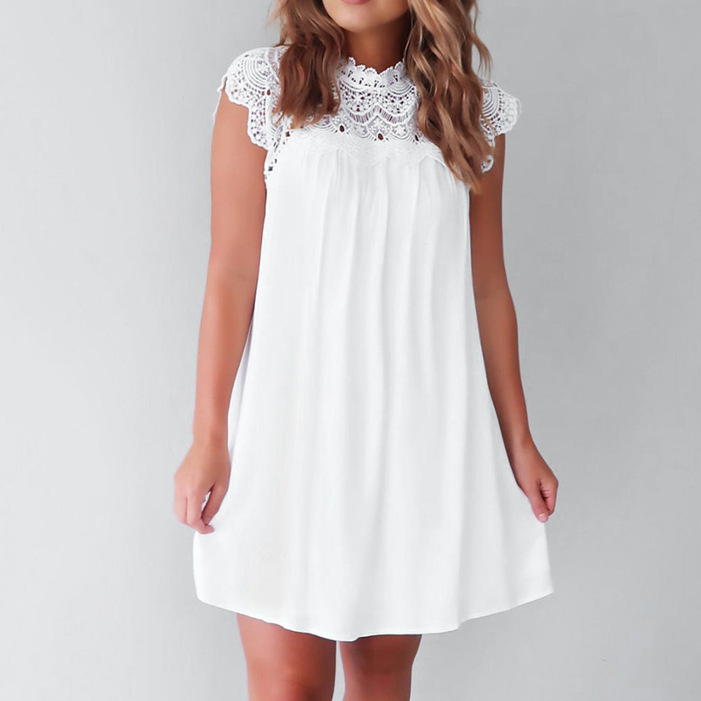 Women's White Summer Mini Dress - Sleeveless, Lace Splice, Hollow