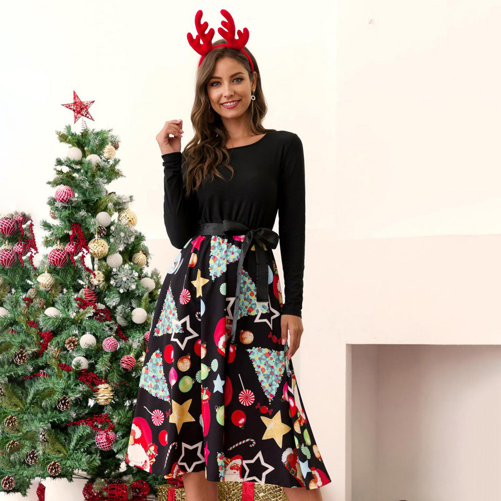 Women Long Sleeve Round Neck Dress Christmas Print Splicing Belt Large Swing