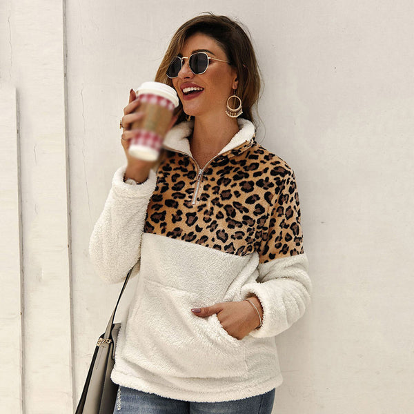 Women Tops Pullover Autumn Winter New Leopard Zipper Pocket High Collar Fashion