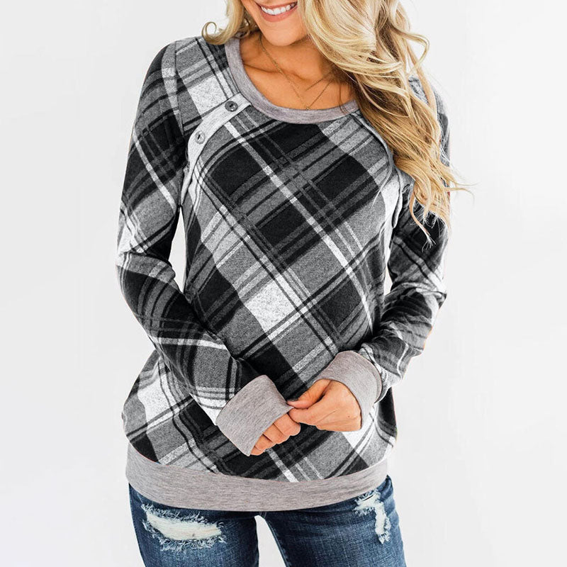 Women's Casual Round Neck Tops Slim Long Sleeve Plaid Pullover Sweatshirt   - PRESALE