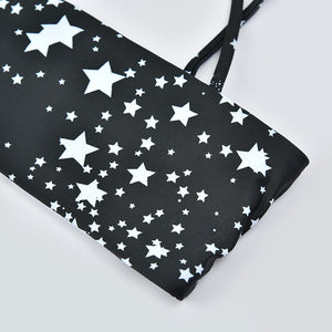Black Star Print Swimsuit with Strap