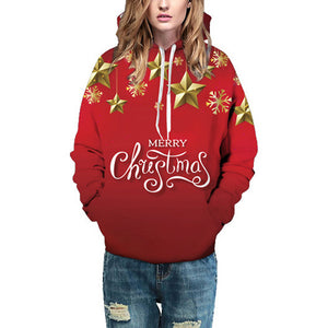 Christmas Atmosphere Star Round Neck Drawstring Sweater
