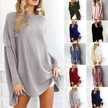 Load image into Gallery viewer, Women Long T-shirt Solid Color Casual Fashion Loose Long Sleeve Tops Soft