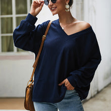 Load image into Gallery viewer, Women's Tops Pullover Long Sleeve - V-Neck, Solid Color, Loose Casual