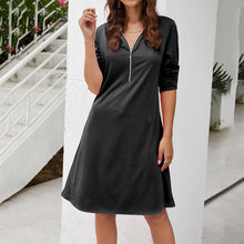 Load image into Gallery viewer, Women's Casual Zipper V-Neck Mini Dress Slim 3/4 Sleeve A-Line Solid Color