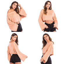 Load image into Gallery viewer, Women's Sexy Loose Off Shoulder Knitwear Bell Sleeve Knitted Tops Solid Color