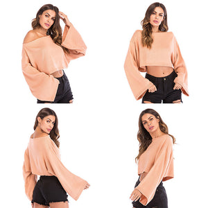 Women's Sexy Loose Off Shoulder Knitwear Bell Sleeve Knitted Tops Solid Color