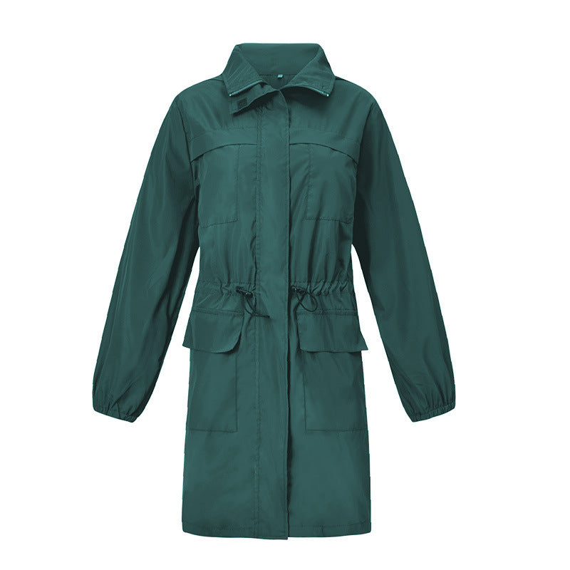 Women's Casual Lapel Waterproof Hooded Coat Outdoor Windbreaker Overcoat