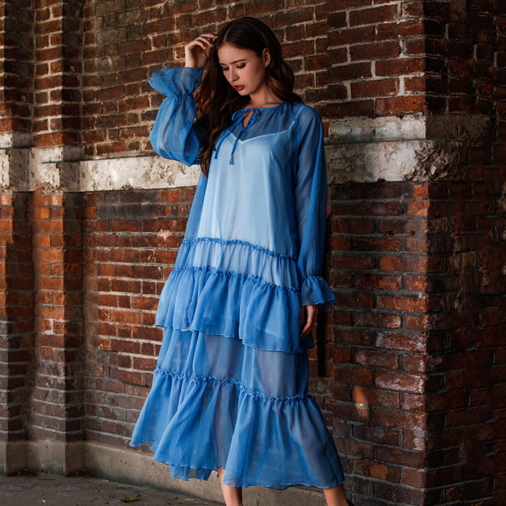 Women Summer Blue V-Neck Ruffled Perspective Splice Long Sleeve New Dress