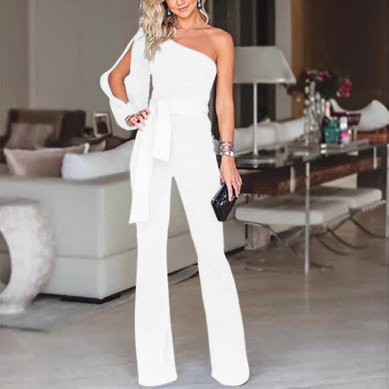 Women's Evening Jumpsuit Romper Dress - Long Sleeve, One shoulder Bandage