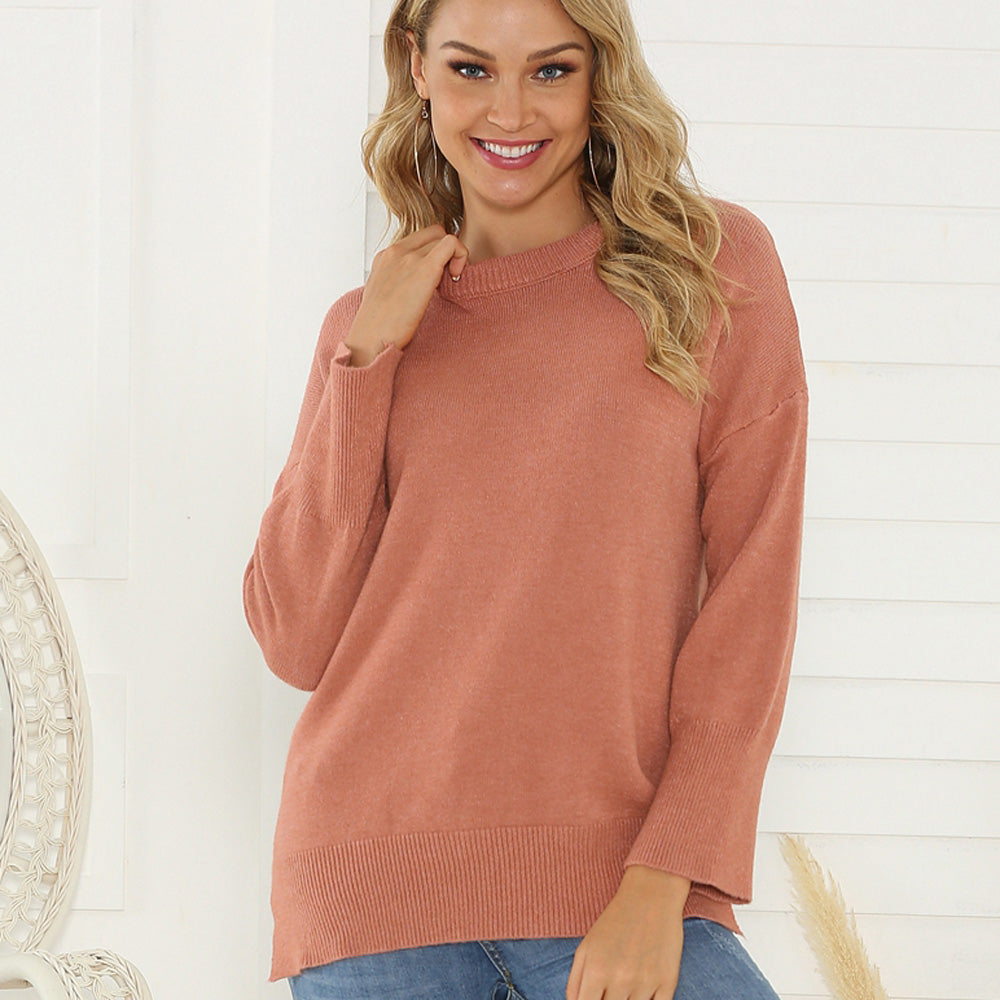 Women Round Neck Sweaters Pullover Long Sleeve Loose Autumn Winter Warm