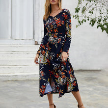 Load image into Gallery viewer, Women's Sexy V-Neck Floral Dress Slim Long Sleeve Irregular Beach Party